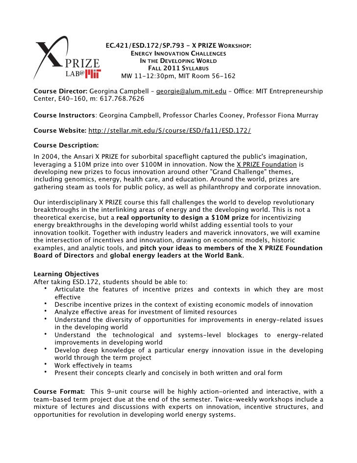 EC.421/ESD.172/SP.793 - X PRIZE WORKSHOP:                              ENERGY INNOVATION CHALLENGES                       ...