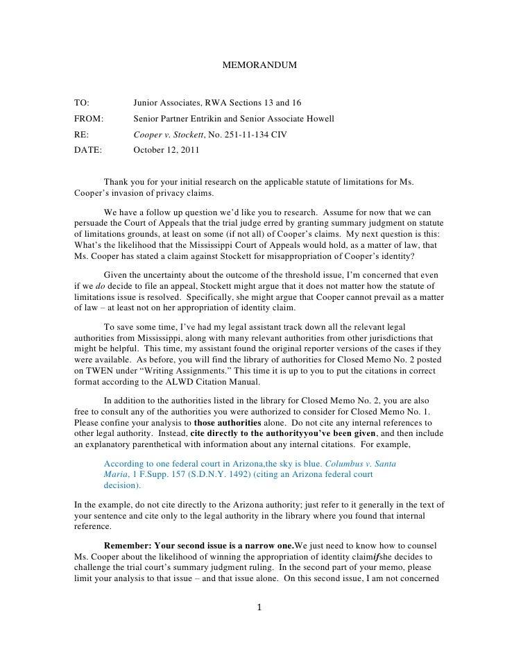 fall 2011 closed memo no  2 assignment cooper v  stockett