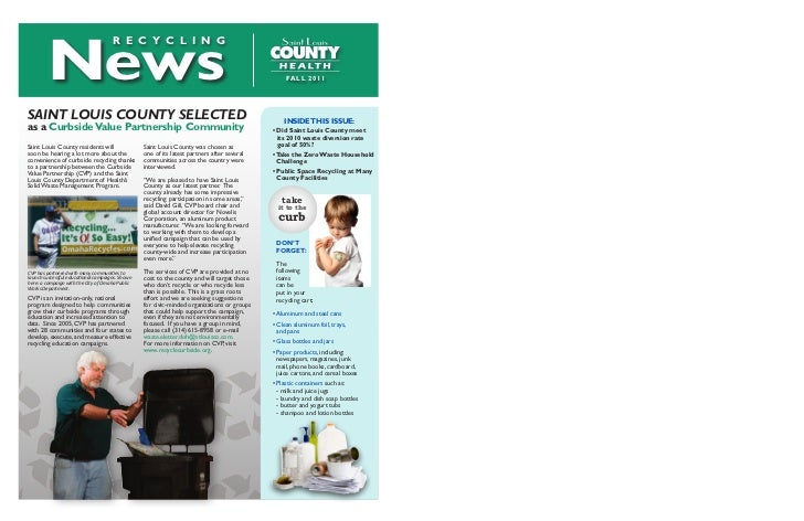 Fall 2011 Recycling newsletter St Louis Recycling on
