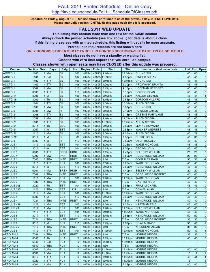 FALL 2011 Printed Schedule - Online Copy                              http://lavc.edu/schedule/Fall11_ScheduleOfClasses.pd...