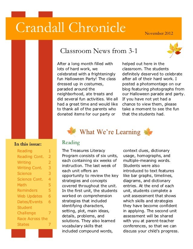 Crandall Chronicle                                                   November 2012                      Classroom News fro...