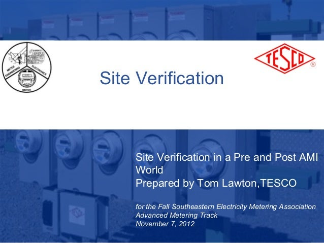Site Verification                 Site Verification in a Pre and Post AMI                 World                 Prepared b...