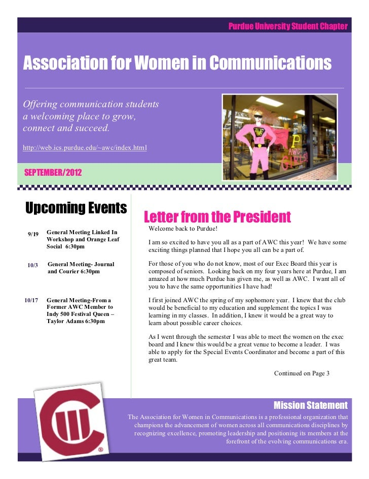 Purdue University Student ChapterAssociation for Women in CommunicationsOffering communication studentsa welcoming place t...