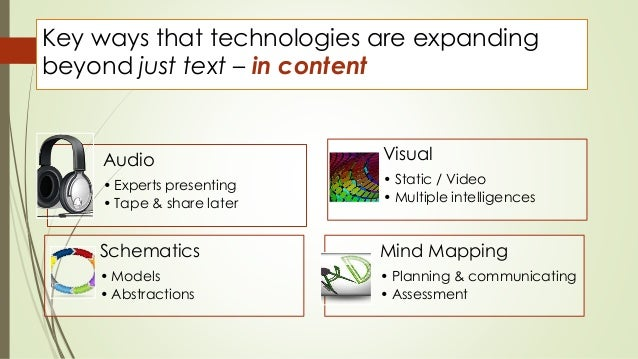 Key ways that technologies are expanding  beyond just text – in content  Audio  • Experts presenting  • Tape & share later...