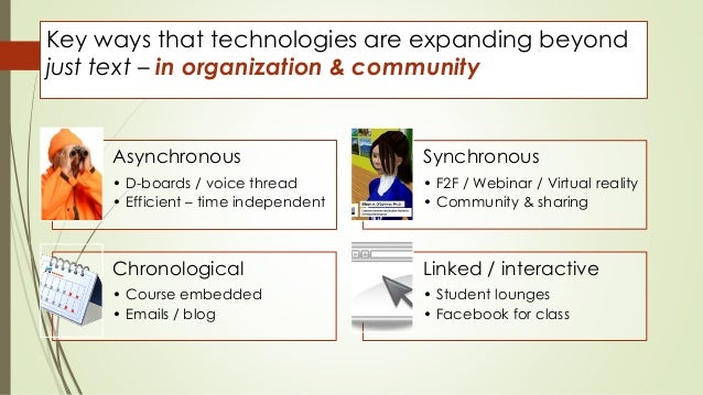 Key ways that technologies are expanding beyond  just text – in organization & community  Asynchronous  • D-boards / voice...