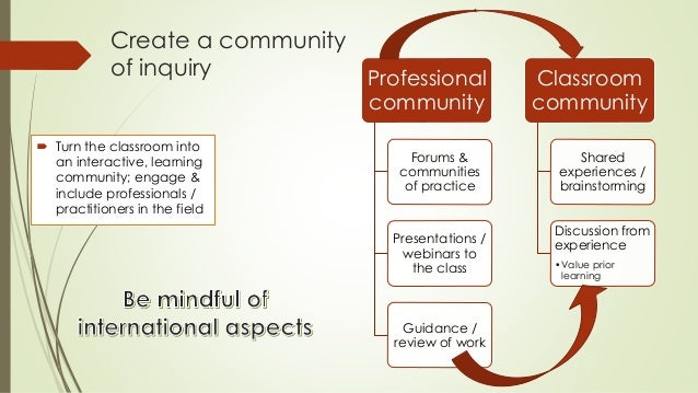Create a community  of inquiry   Turn the classroom into  an interactive, learning  community; engage &  include professi...