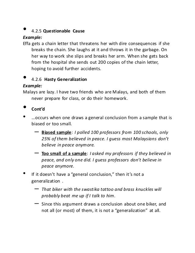 Fallacies notes – Fallacies Worksheet
