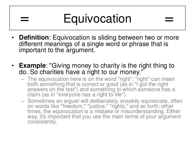 Awesome Equivocation U2022 Definition: Equivocation ...