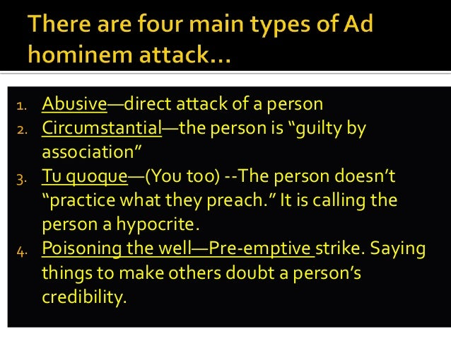 Fallacy Lecture Slippery Slope Ad Hominem Hasty Generalization