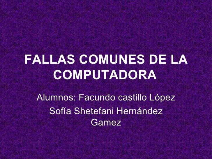 FALLAS COMUNES DE LA COMPUTADORA Alumnos: Facundo castillo López Sofía Shetefani Hernández Gamez