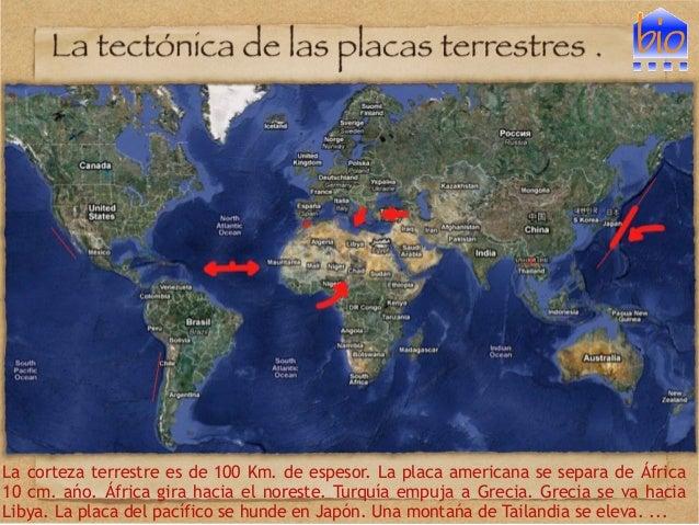 La corteza terrestre es de 100 Km. de espesor. La placa americana se separa de África 10 cm. ańo. África gira hacia el nor...