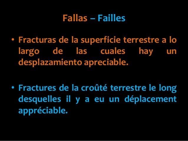 Fallas – Failles• Fracturas de la superficie terrestre a lolargo de las cuales hay undesplazamiento apreciable.• Fractures...