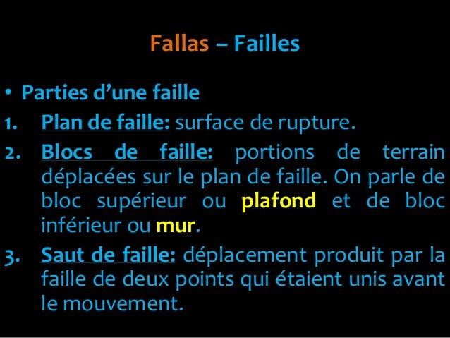 Fallas – Failles• Parties d'une faille1. Plan de faille: surface de rupture.2. Blocs de faille: portions de terraindéplacé...