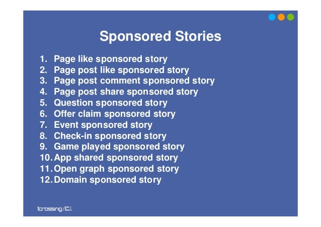 Sponsored Stories1. Page like sponsored story2. Page post like sponsored story3. Page post comment sponsored story4. Page ...