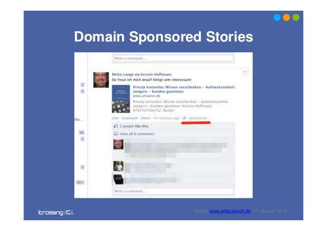 Domain Sponsored StoriesQuelle: www.allfacebook.de, 11. Januar 2013