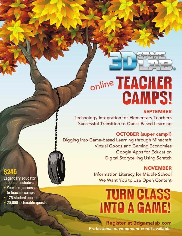 Register at 3dgamelab.com Professional development credit available. SEPTEMBER Technology Integration for Elementary Teach...