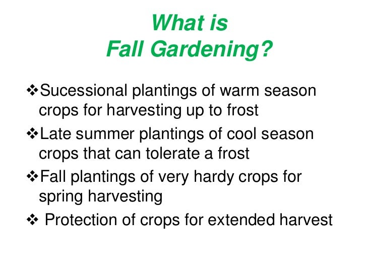 What is Fall Gardening?<br /><ul><li>Sucessional plantings of warm season crops for harvesting up to frost