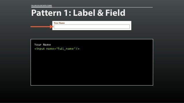 "FALLING IN LOVE WITH FORMS Pattern 1: Label & Field Your Name <input name=""full_name""/>"