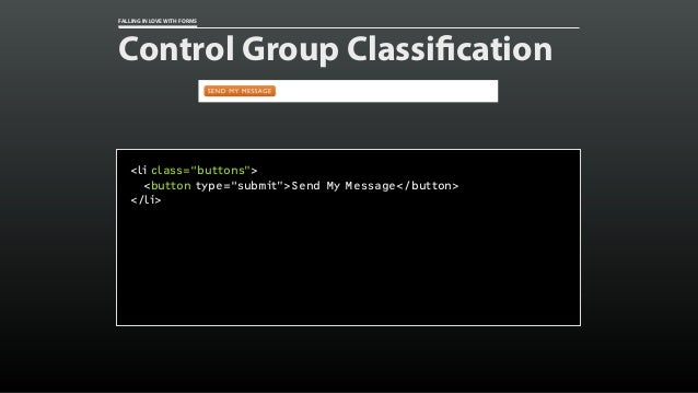 "FALLING IN LOVE WITH FORMS Control Group Classification <li class=""buttons""> <button type=""submit"">Send My Message</button..."