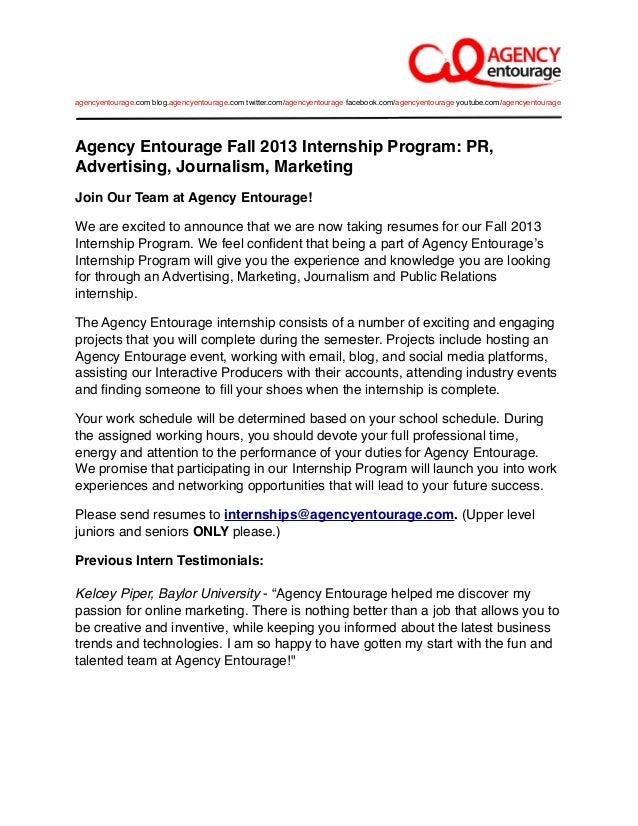 agency entourage fall 2013 internship program pr advertising journalism marketing join our - Advertising Internship Resume