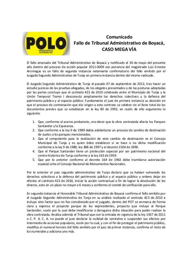 ComunicadoFallo de Tribunal Administrativo de Boyacá,CASO MEGA VÍAEl fallo emanado del Tribunal Administrativo de Boyacá y...