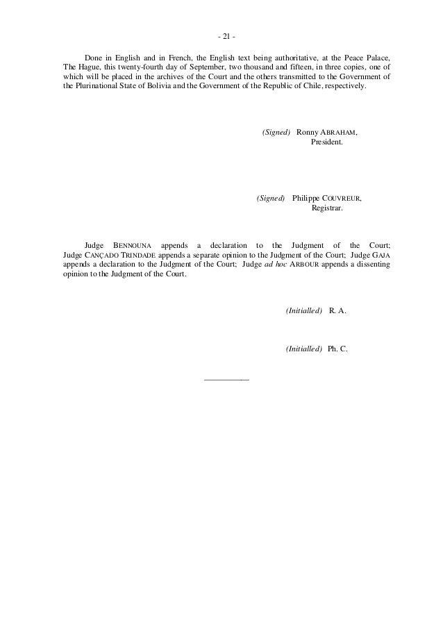 Fallo de La Haya a favor de Bolivia