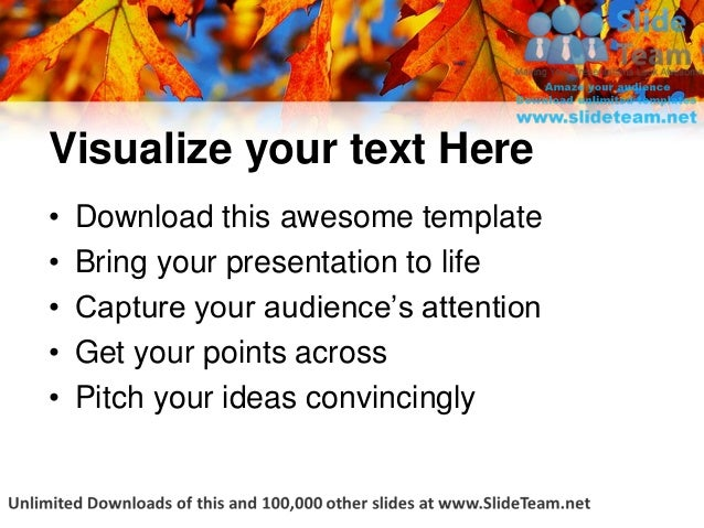 fall oak leaves nature power point themes templates and slides ppt de