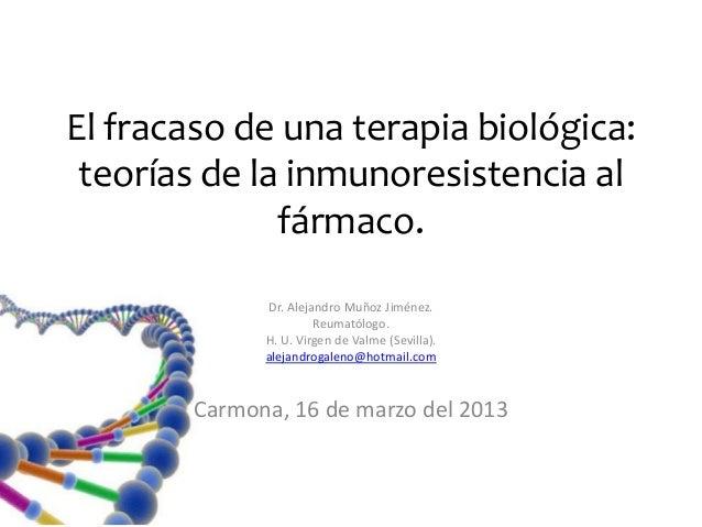 El fracaso de una terapia biológica: teorías de la inmunoresistencia al              fármaco.               Dr. Alejandro ...