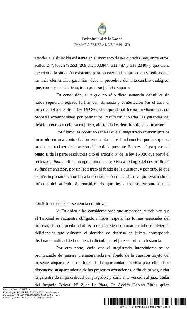 Fallo camara federal la plata afsca for Juzgado federal rosario