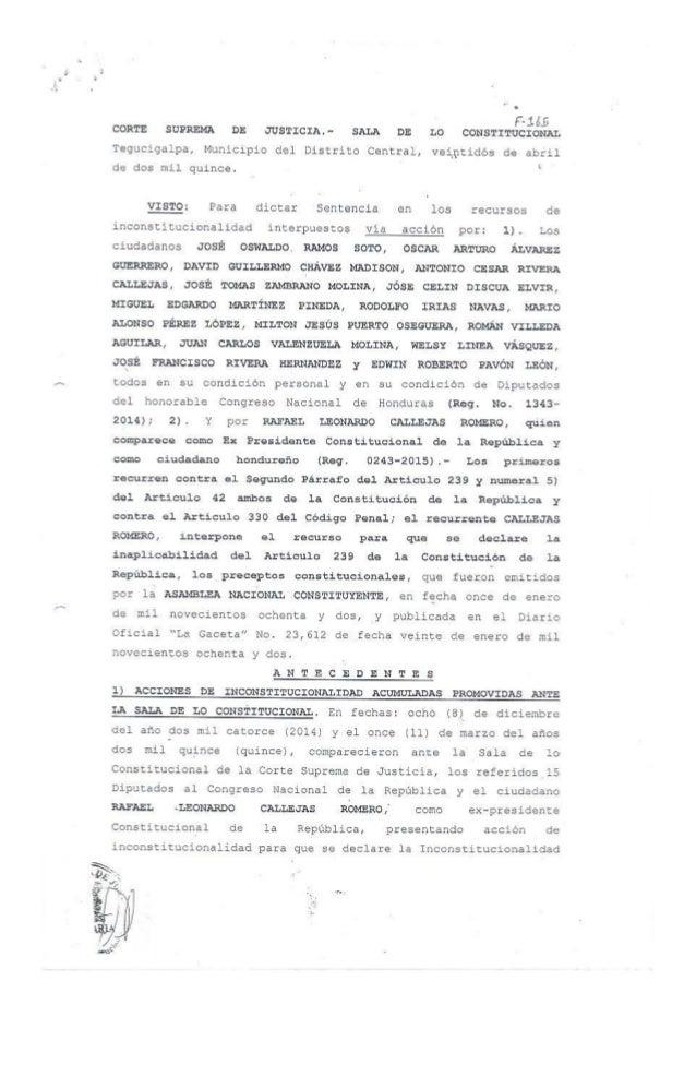 """"""" o F- 1 6.5 CORTE SUPREMA DE JUSTICIA .  """" SALA DE L0 CONSTITUCIONAL  Tegucigalpa,  Municipio del Distrito Central,  vein..."""