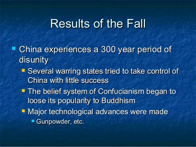 comparing the fall of han china Fall of roman and han empires the roman and han empires were  compare and contrast essay on the fall of  decline in trade affected rome more than han china.