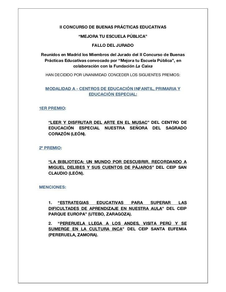 """II CONCURSO DE BUENAS PRÁCTICAS EDUCATIVAS                 """"MEJORA TU ESCUELA PÚBLICA""""                        FALLO DEL JU..."""