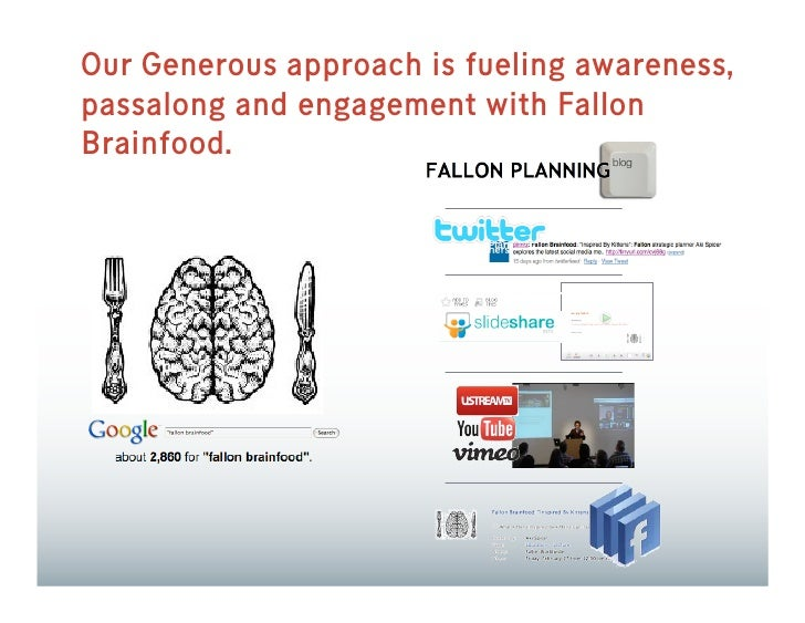 Our Generous approach is fueling awareness, passalong and engagement with Fallon Brainfood.