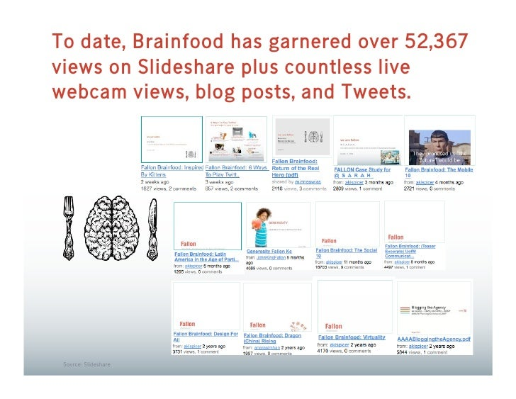 To date, Brainfood has garnered over 52,367 views on Slideshare plus countless live webcam views, blog posts, and Tweets. ...