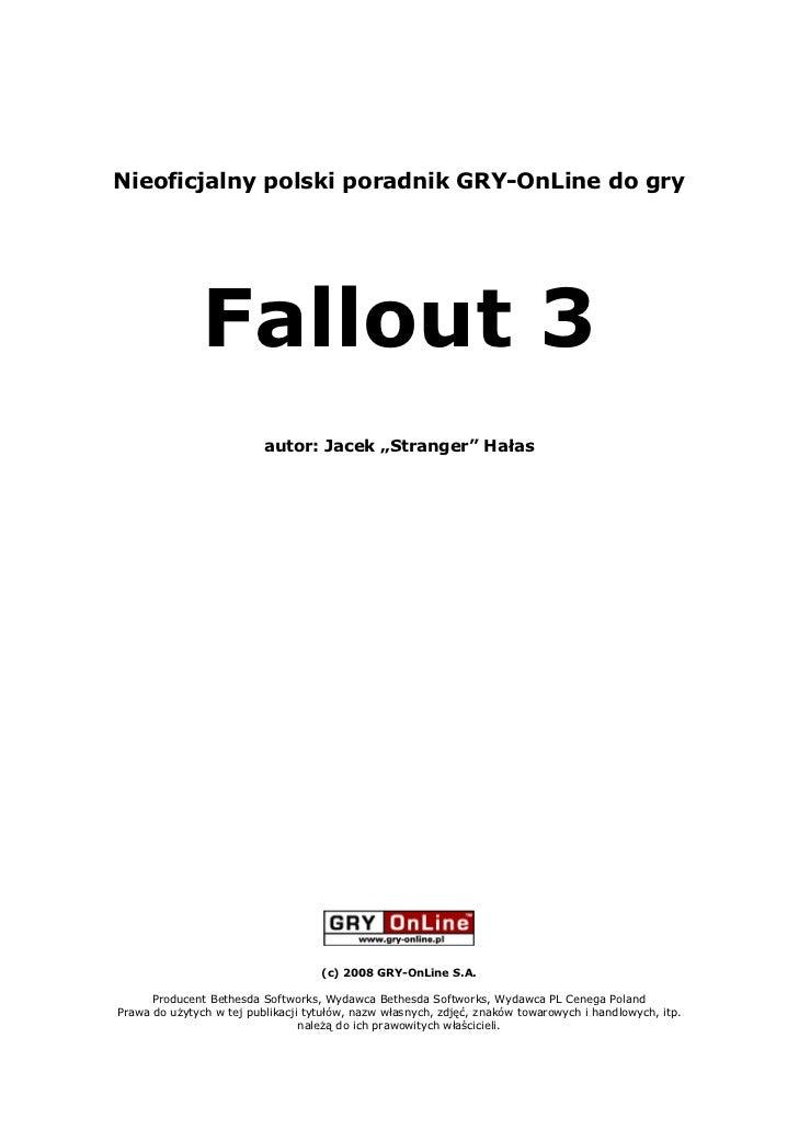 """Nieoficjalny polski poradnik GRY-OnLine do gry                    Fallout 3                           autor: Jacek """"Strang..."""