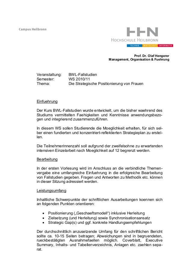 Veranstaltung: BWL Semester: WS Thema: Die Strategische Positionierung von Frauen Einfuehrung Der Kurs BWL-Fallstudien wu ...