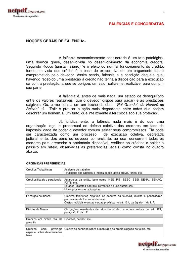 1                                                                      FALÊNCIAS E CONCORDATASNOÇÕES GERAIS DE FALÊNCIA:- ...