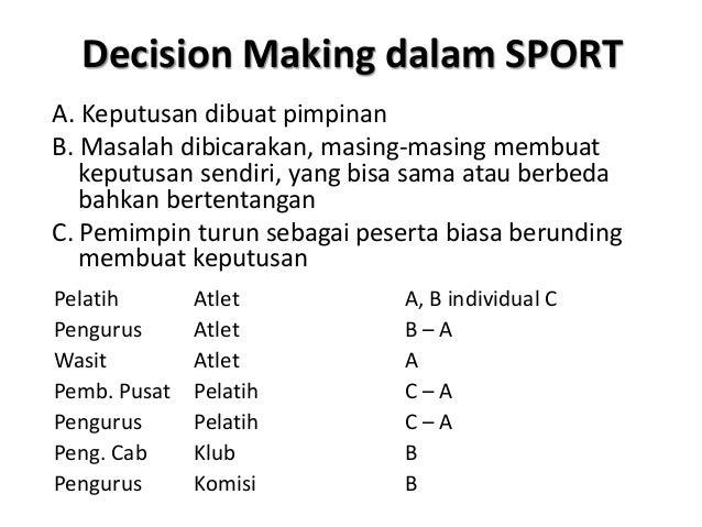 Decision Making dalam SPORT A. Keputusan dibuat pimpinan B. Masalah dibicarakan, masing-masing membuat keputusan sendiri, ...