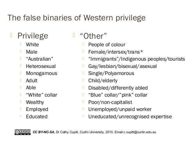 "The false binaries of Western privilege  Privilege  White  Male  ""Australian""  Heterosexual  Monogamous  Adult  Ab..."
