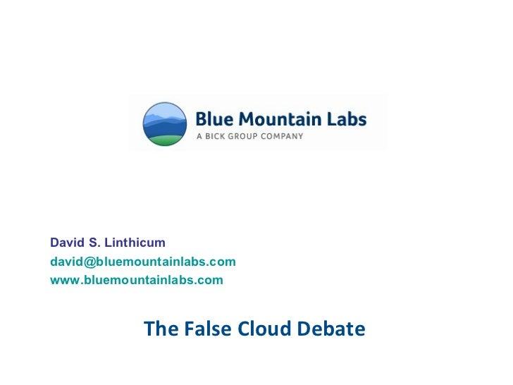 The False Cloud Debate David S. Linthicum [email_address] www.bluemountainlabs.com