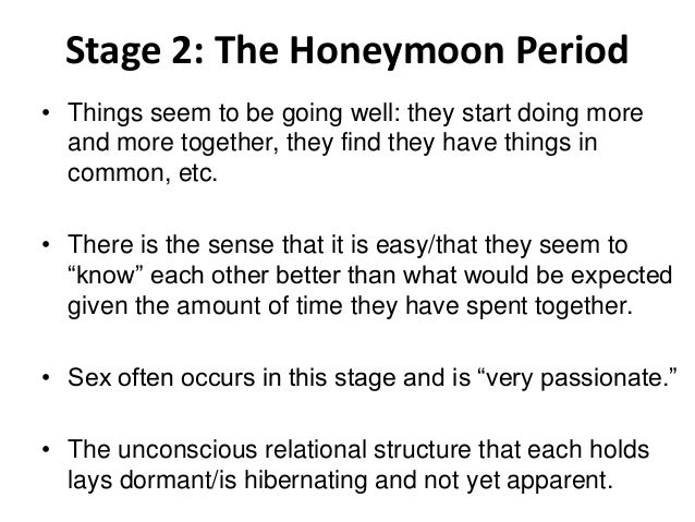 What happens after the honeymoon stage of a relationship