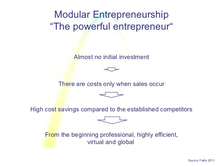 """Modular Entrepreneurship      """"The powerful entrepreneur""""               Almost no initial investment          There are co..."""