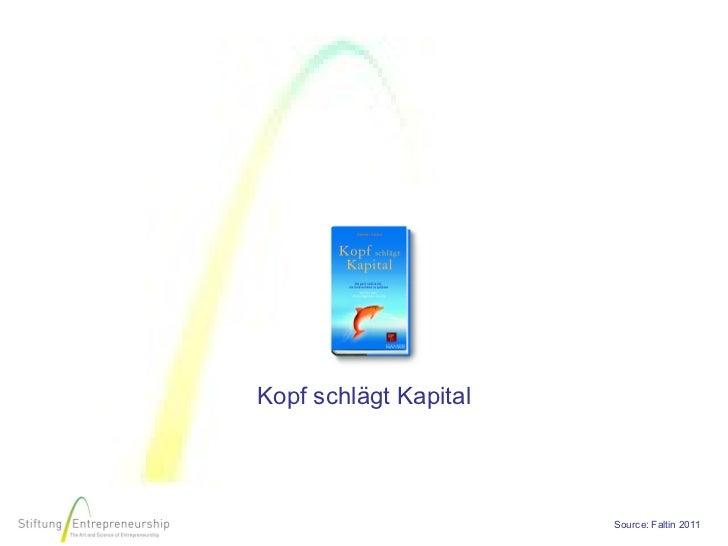 Kopf schlägt Kapital                       Source: Faltin 2011