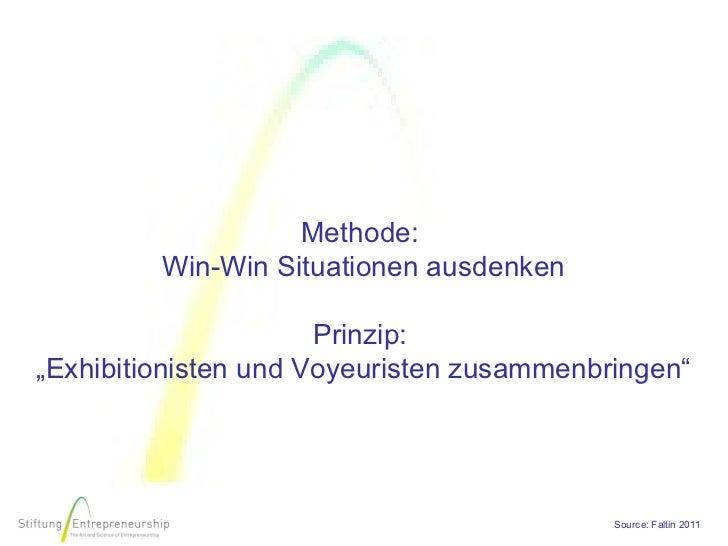 """Methode:         Win-Win Situationen ausdenken                      Prinzip:""""Exhibitionisten und Voyeuristen zusammenbring..."""