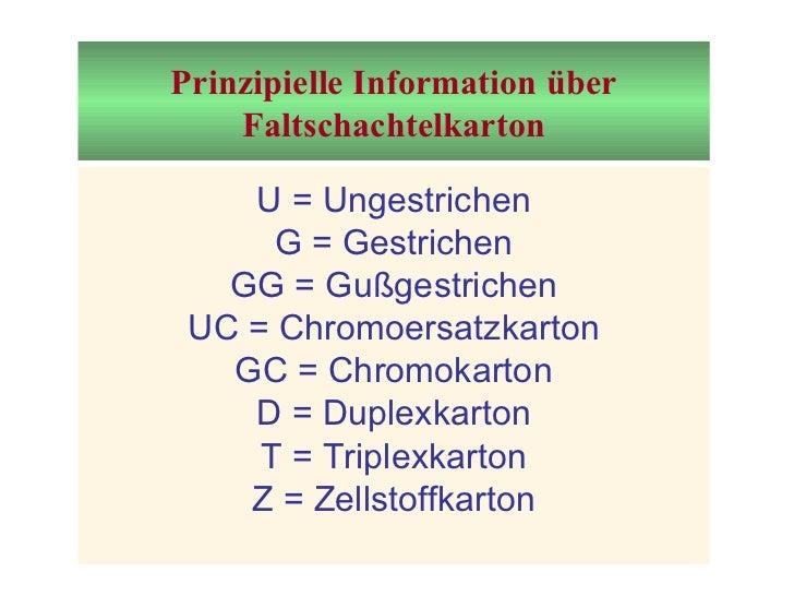 Prinzipielle Information über Faltschachtelkarton U = Ungestrichen G = Gestrichen GG = Gußgestrichen UC = Chromoersatzkart...