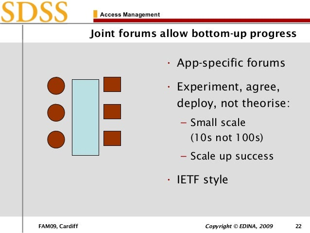 FAM09, Cardiff Copyright © EDINA, 2009 22 Access Management Joint forums allow bottom-up progress • App-specific forums • ...
