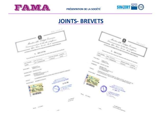 PRÉSENTATION DE LA SOCIÉTÉ JOINTS- BREVETS