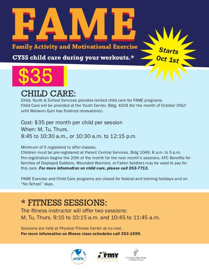 FAMEFamily Activity and Motivational ExerciseCYSS child care during your workouts.*                                       ...