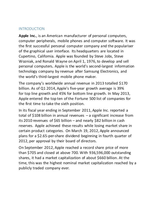 management report of apple inc Financial statements for apple inc dow jones, a news corp company news corp is a network of leading companies in the worlds of diversified media, news, education, and information services.