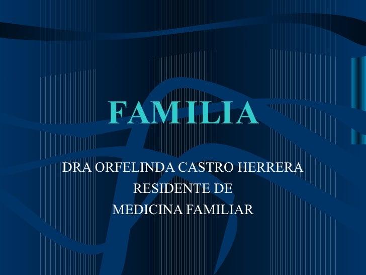 FAMILIA DRA ORFELINDA CASTRO HERRERA RESIDENTE DE MEDICINA FAMILIAR